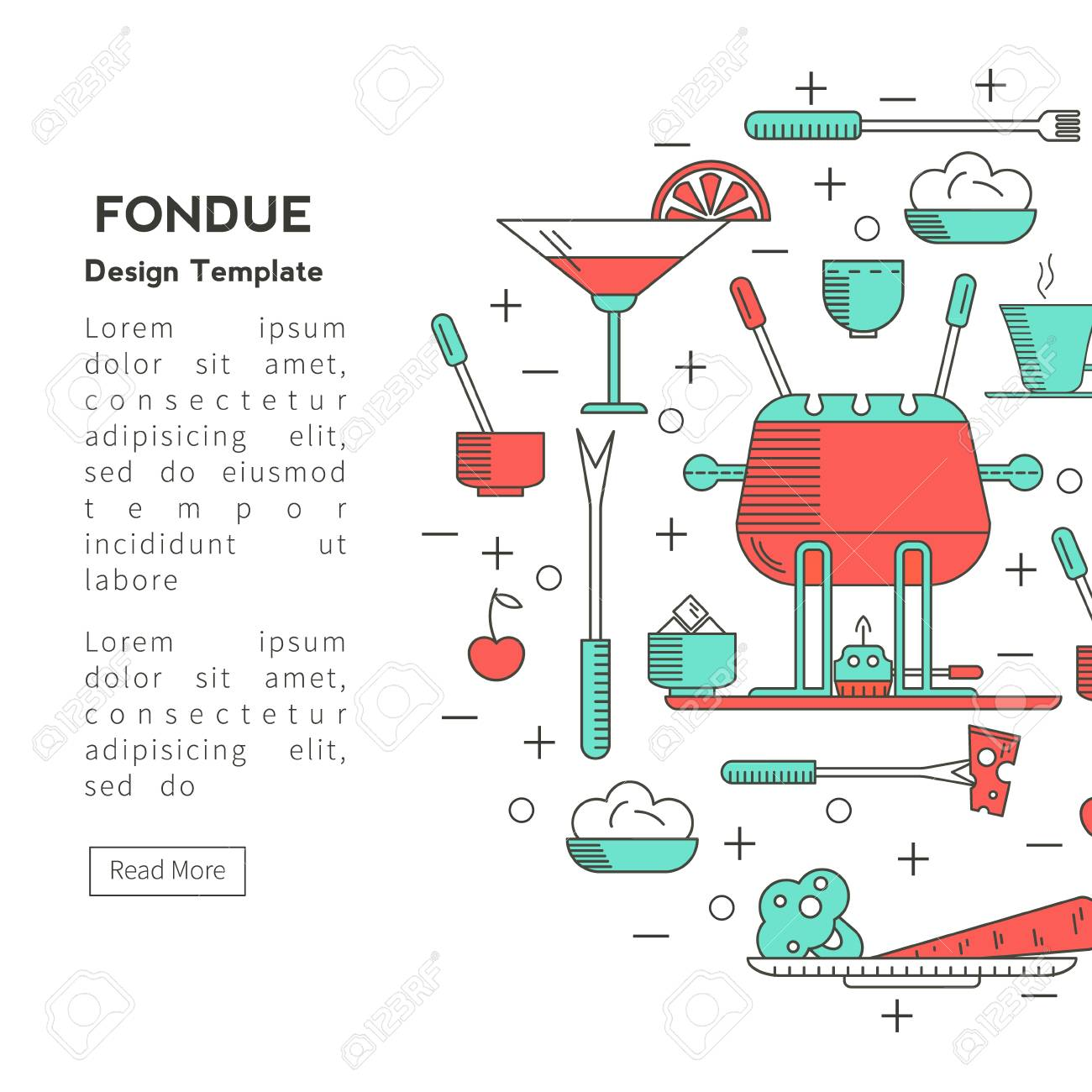 Fondue Party. Icons Trendy Linear Style On Isolated Background ...