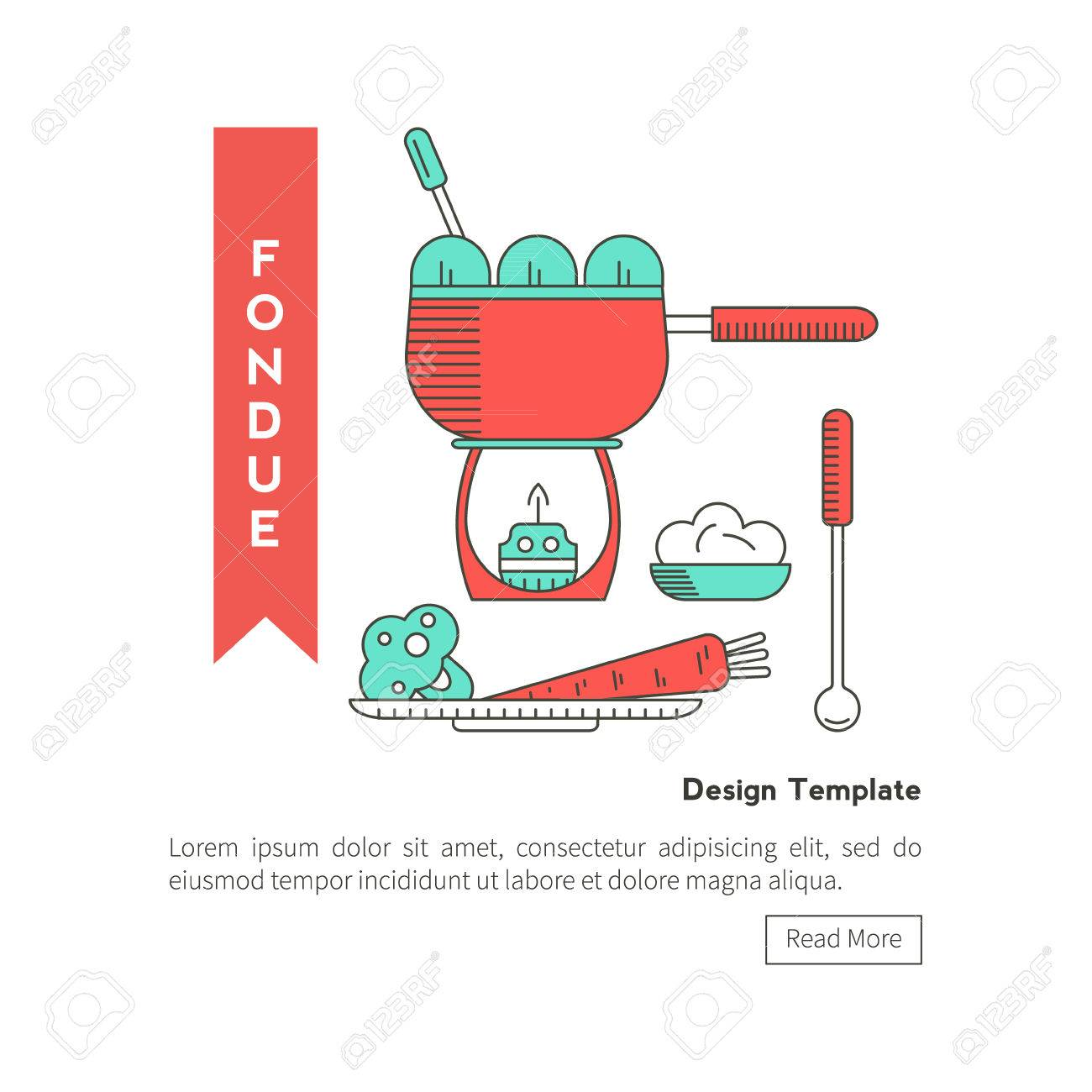 Fondue Party . Icons In The Trendy Linear Style On Isolated ...