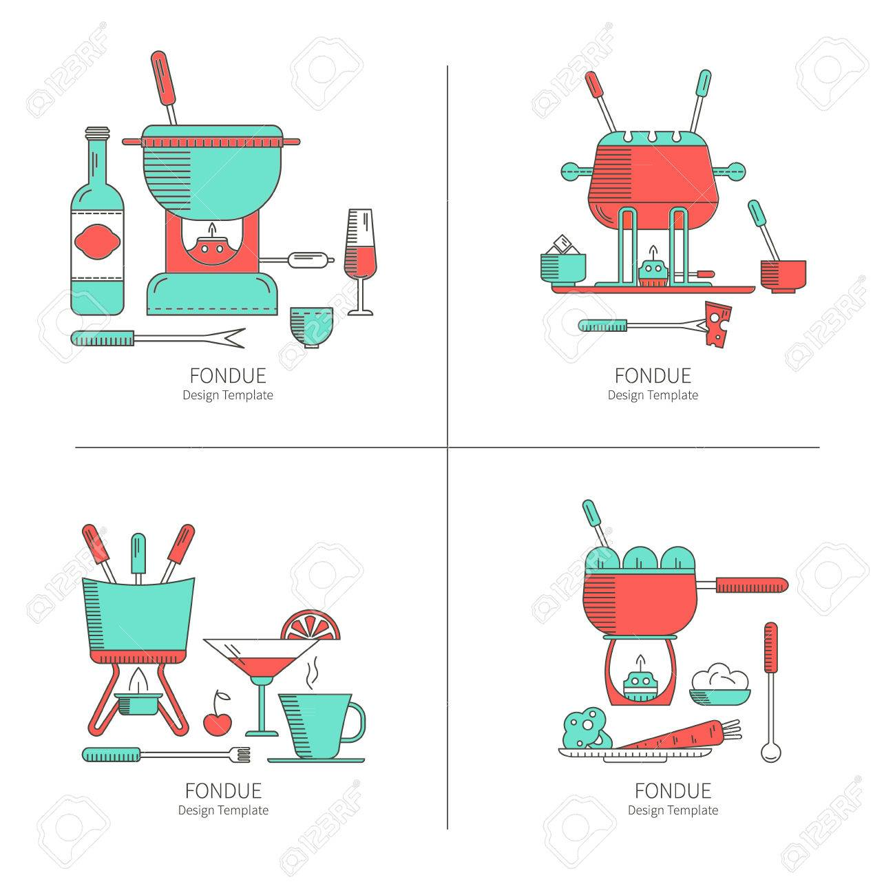 Fondue Party Graphics - High Quality Clip Art Vector •