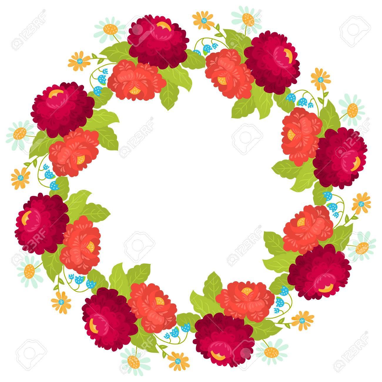 Ansichtkaart Met Florale Krans Illustratie Kan Worden Gebruikt Als Het Maken Van Kaarten Uitnodigingskaart Voor De Bruiloft Verjaardag Of Andere