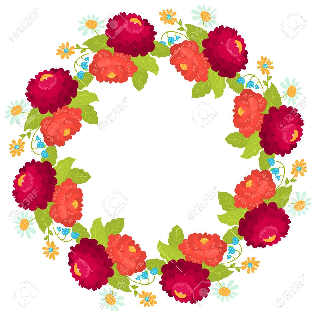 Postcard With Floral Wreath Illustration Can Be Used As Card