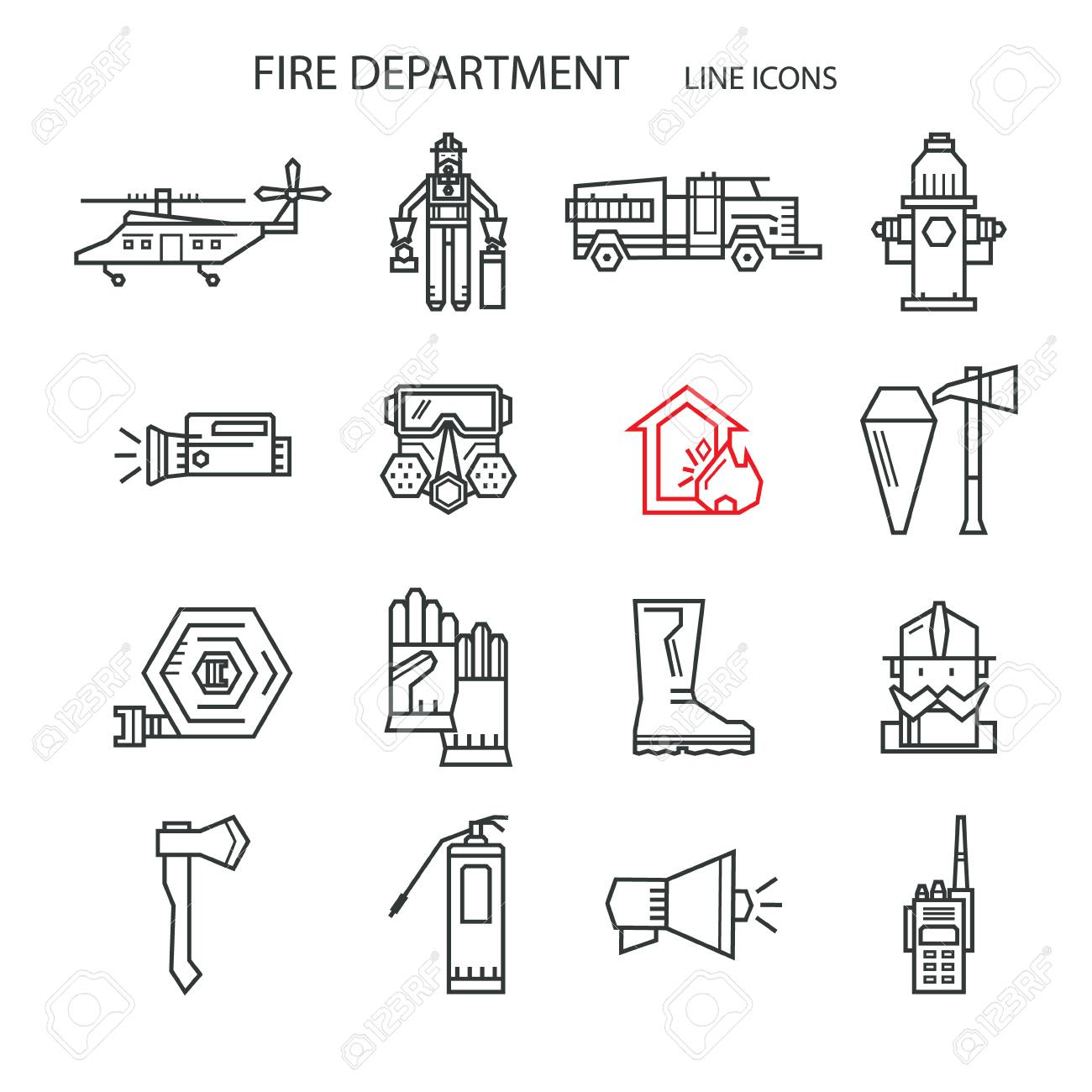 Set Icons Outline Fire Safety Flame Truck Fire Extinguisher