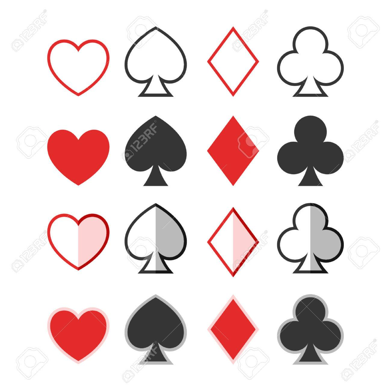 set of hearts clubs spades and diamonds icons card suit royalty