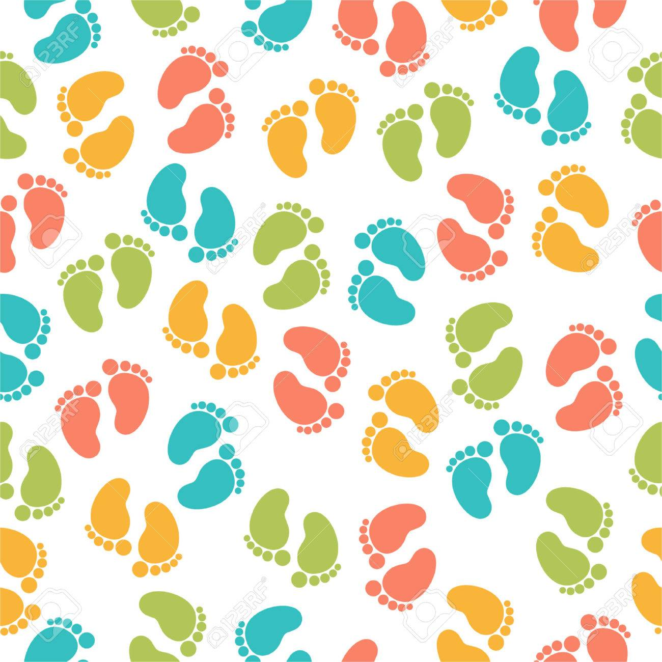 Seamless pattern with baby footprint Stock Vector - 24754204