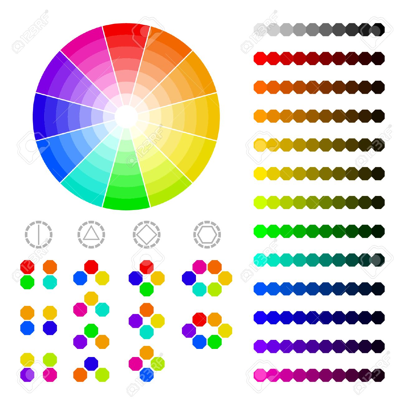 Color Wheel With Shade Of Colors Color Harmony Royalty Free Cliparts