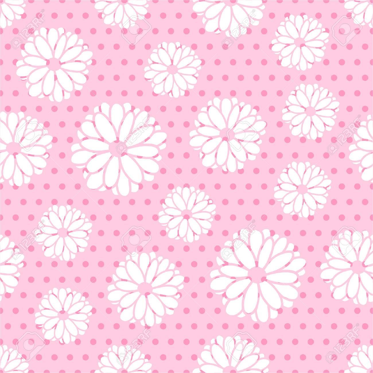 Patrón Transparente De Flores Y Los Puntos De Los Textiles, Diseño ...
