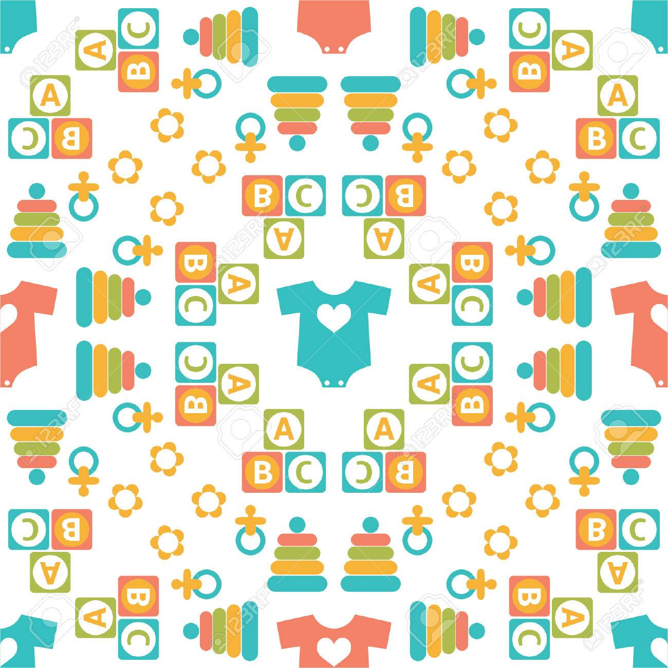 Seamless Pattern Of Baby Icons For Textiles Interior Design Book Website