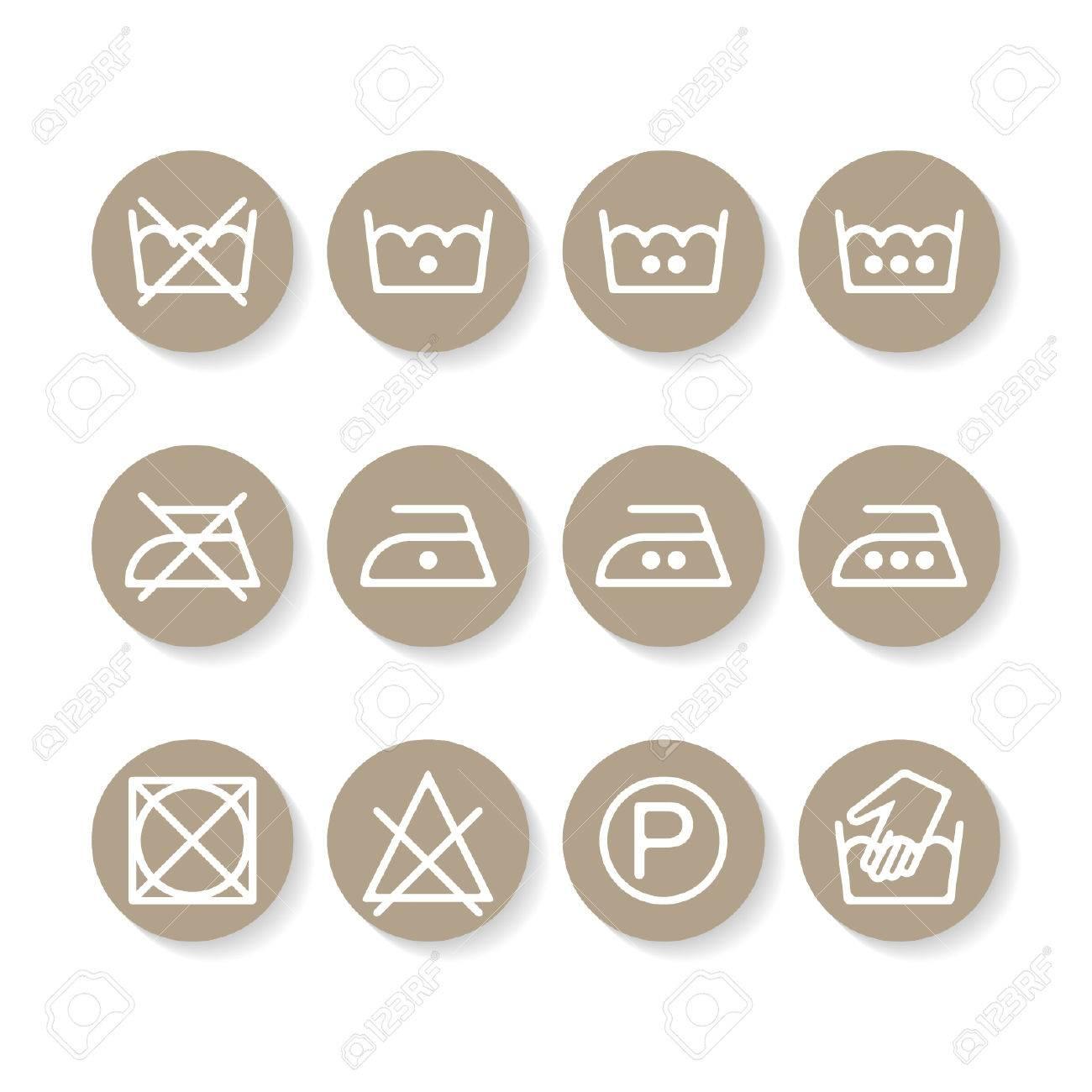 Set Of Instruction Laundry Icons Care Icons Washing Symbols