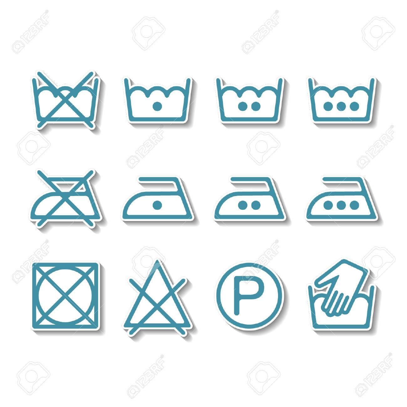Instruction Laundry Dry Cleaning Care Icons Washing Symbols