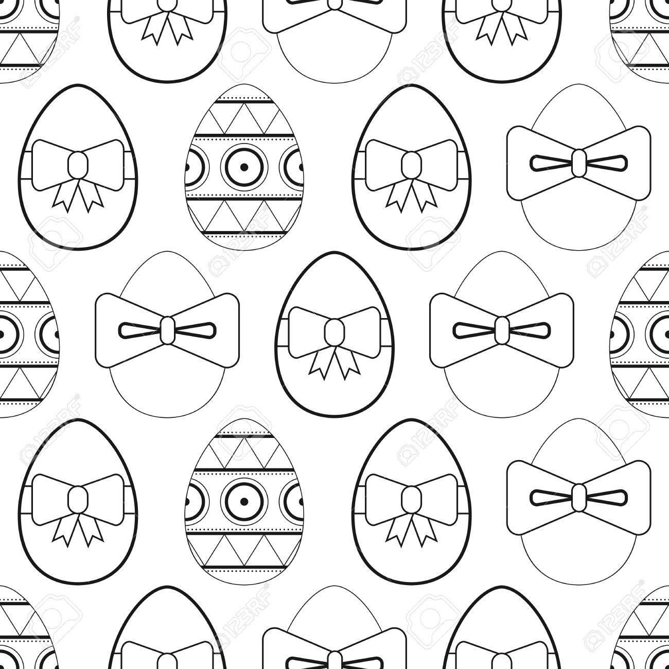 Huevos De Pascua Planas Patrón Blanco Y Negro Sin Costura Para ...
