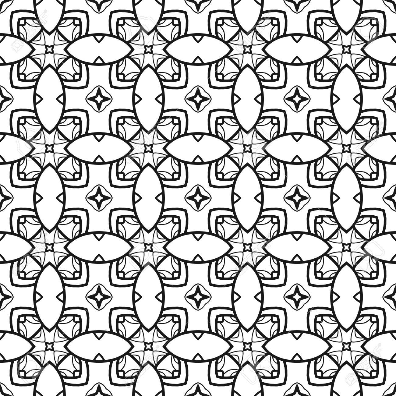 Patrón Transparente Floral Blanco Y Negro. Ornamento Decorativo Para ...