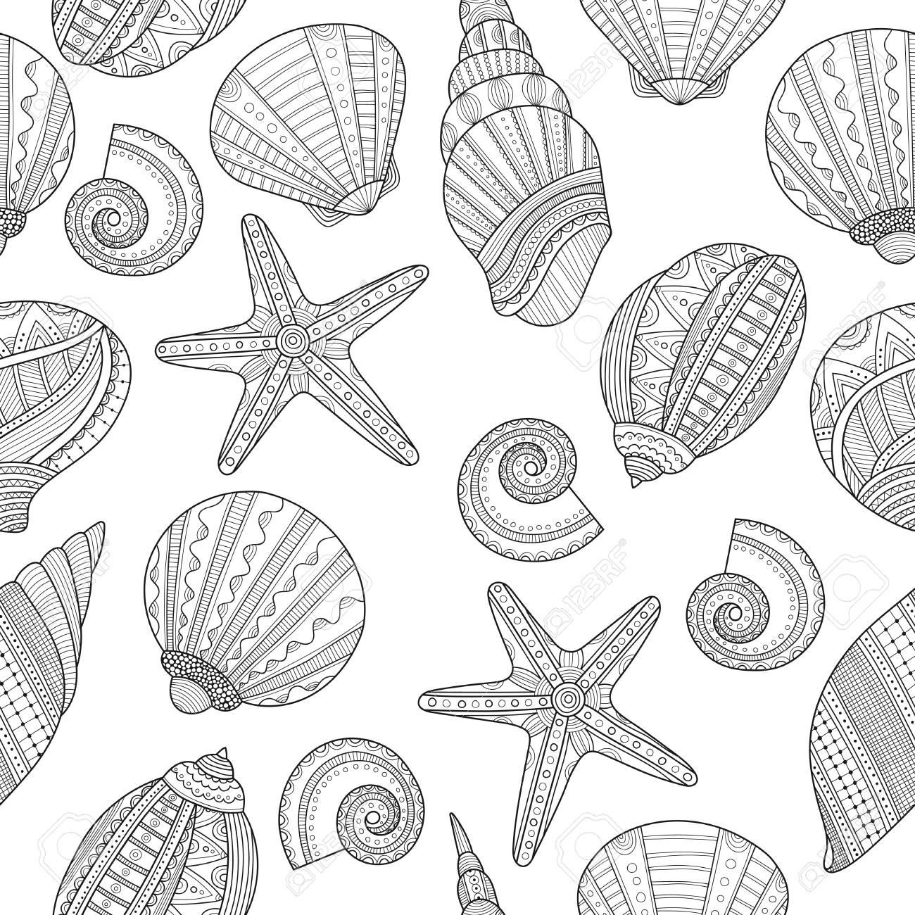 Conchas De Mar Modelo Inconsútil Blanco Y Negro Para Colorear