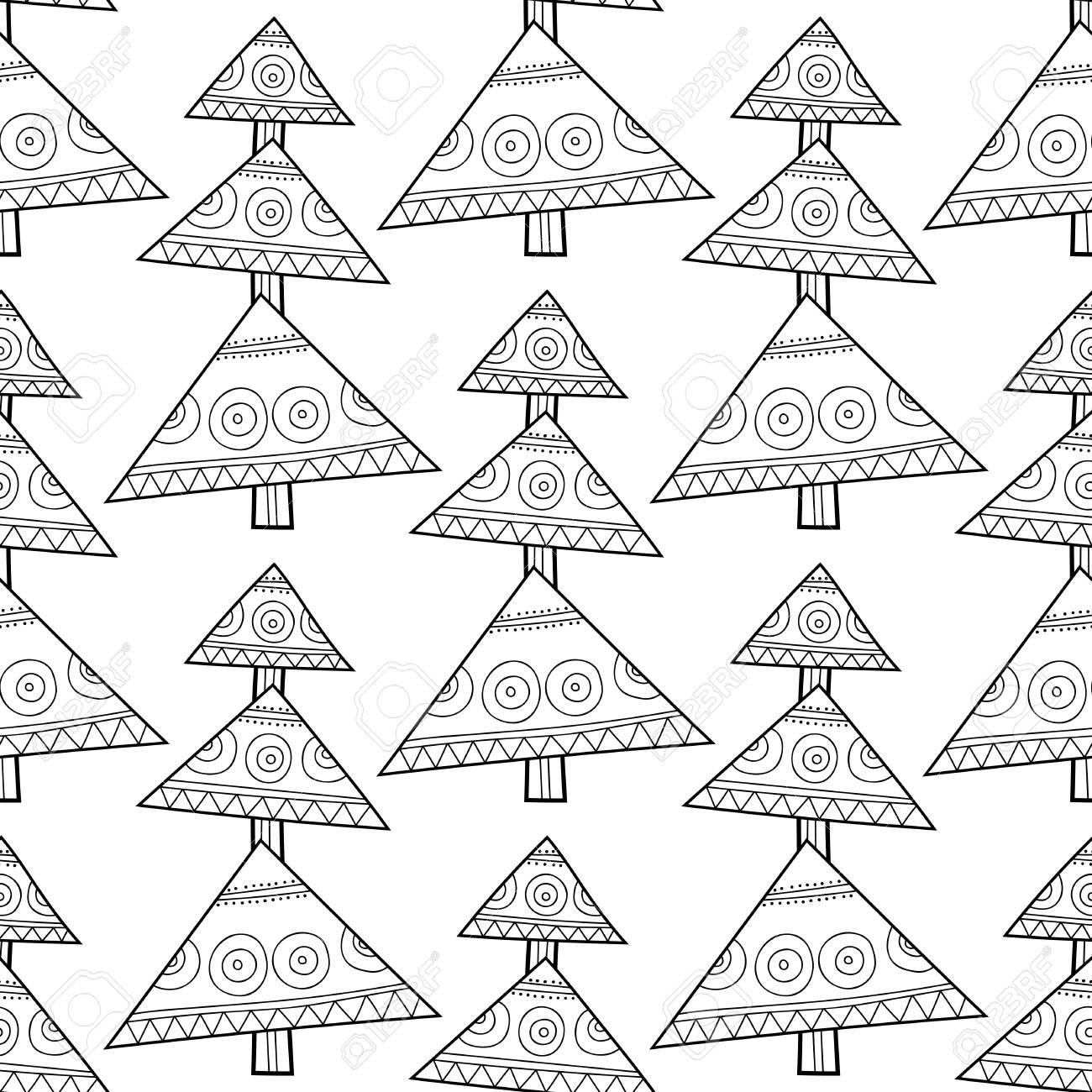 Modelo Inconsútil Blanco Y Negro Con árboles Decorativos De Navidad ...