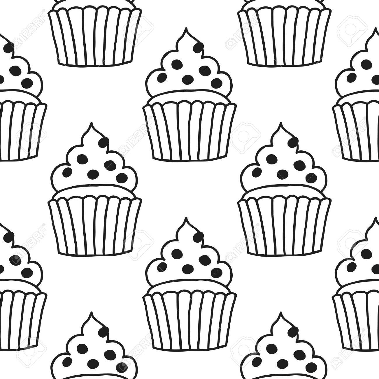 Seamless Noir Et Blanc Avec Des Gâteaux Pour Des Livres De Coloriage Illustration De Desserts Et De Pâtisseries