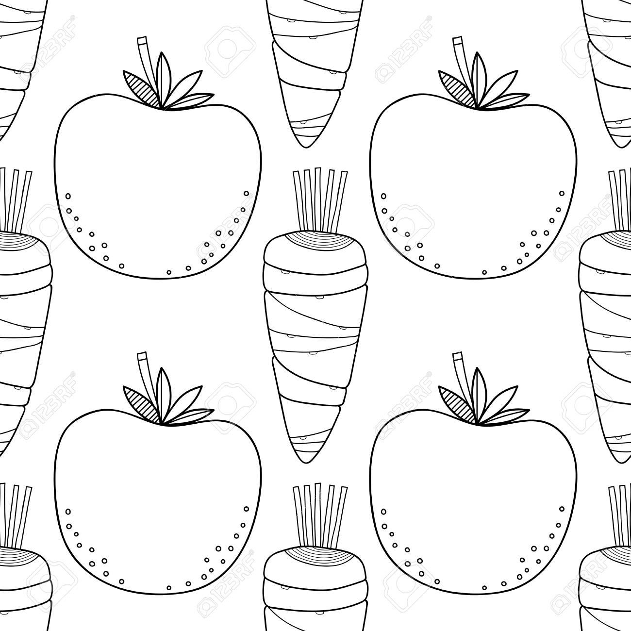 Patrón Transparente Vegetal Negro Blanco Con Tomates Zanahorias Para Colorear