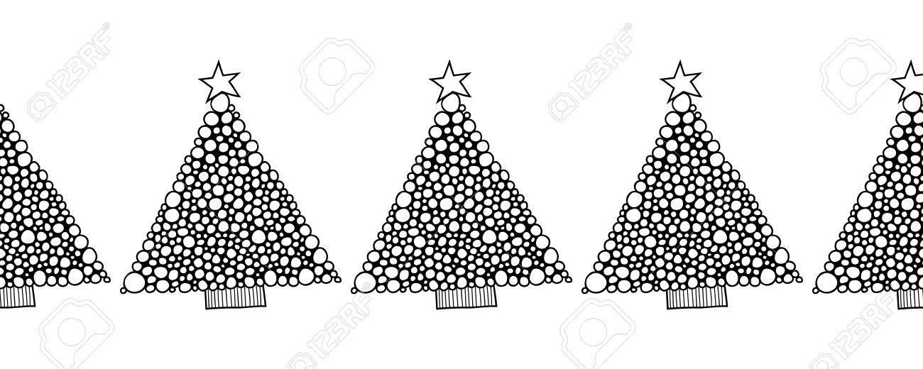Modelo Inconsútil Blanco Y Negro Con árboles De Navidad Para ...