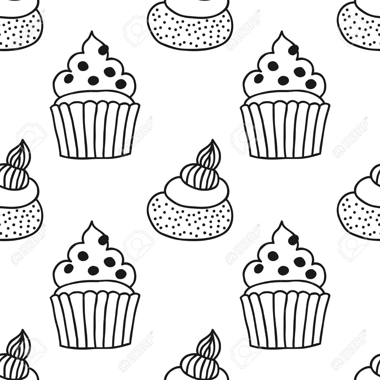 Seamless Noir Et Blanc Avec Des Gâteaux Pour Des Livres De Coloriage Illustration De Desserts Pâtisseries