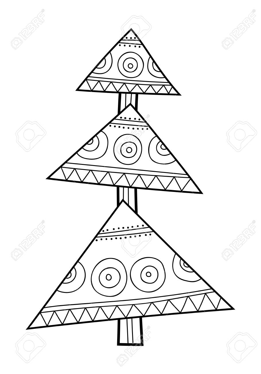 Christmas Tree With Decorative Patterns Black And White Illustration For Coloring Book Pages