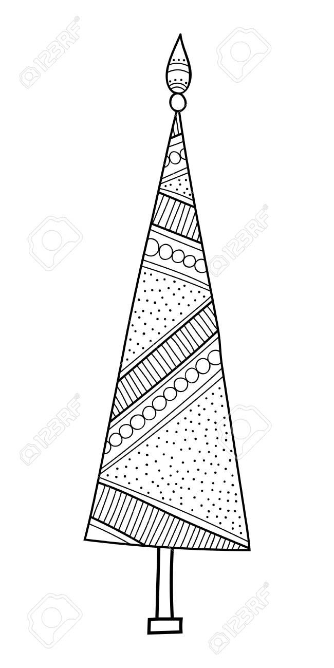 Weihnachtsbaum Mit Dekorativen Mustern Schwarzweiß Illustration Für