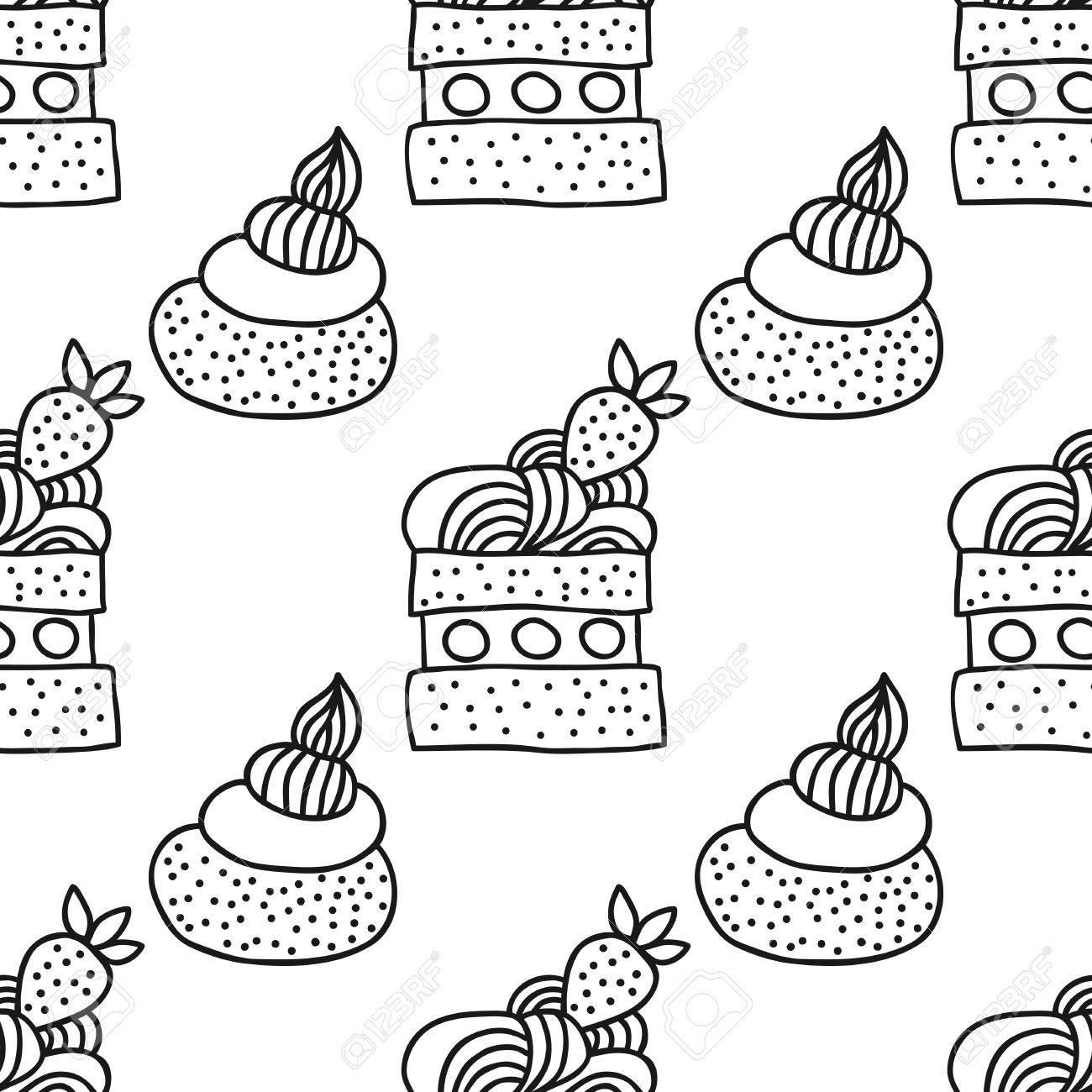 Süße Dessert Illustration. Schwarz-Weiß-nahtlose Muster Mit Kuchen ...