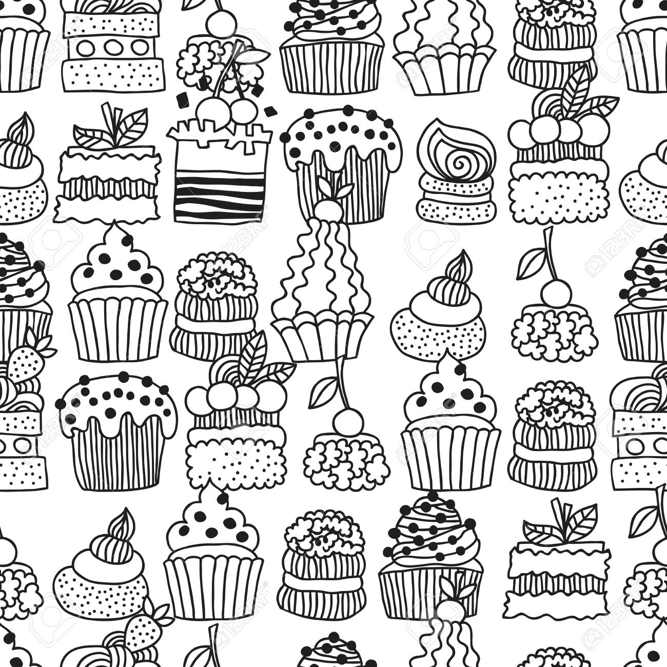 Sweet Cakes Cupcakes Black And White Seamless Pattern With Dessert For Coloring Books Doodle Illustration Vector Royalty Free Cliparts Vectors And Stock Illustration Image 80112150