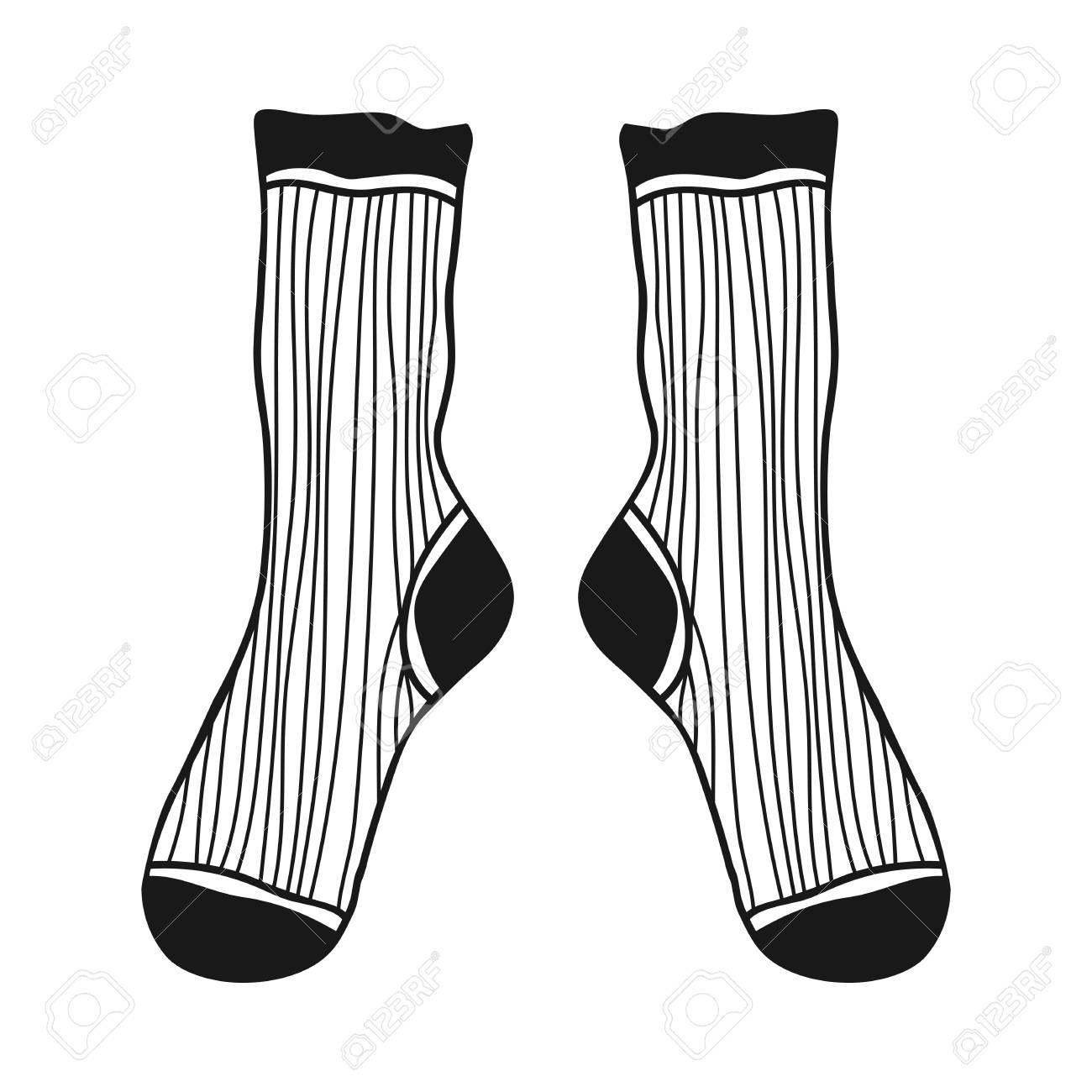 Gekritzel Socken. Schwarz-Weiß-Illustration Für Malbuch Und Seiten ...