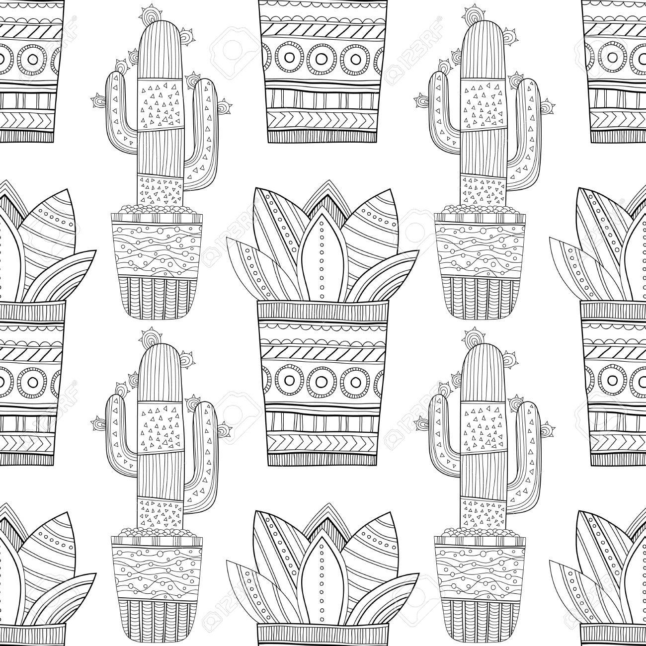 Black And White Seamless Pattern Of Ornamental Cacti And Succulents ...