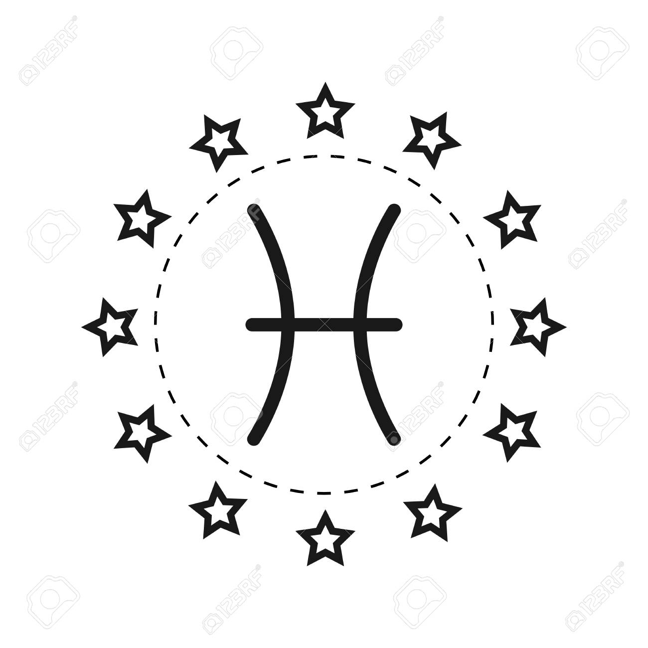 Pisces Sign Of The Zodiac Flat Symbol Horoscope And Predictions Vector Object For