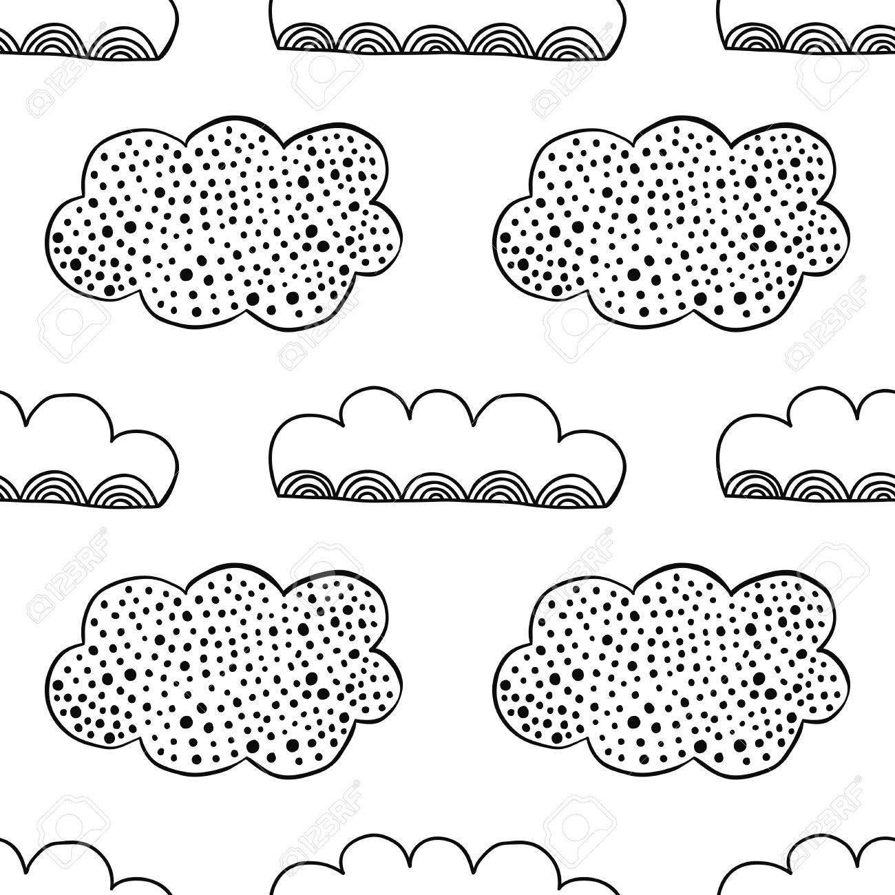 Nubes Decorativas. Ilustración En Blanco Y Negro, Patrón ...