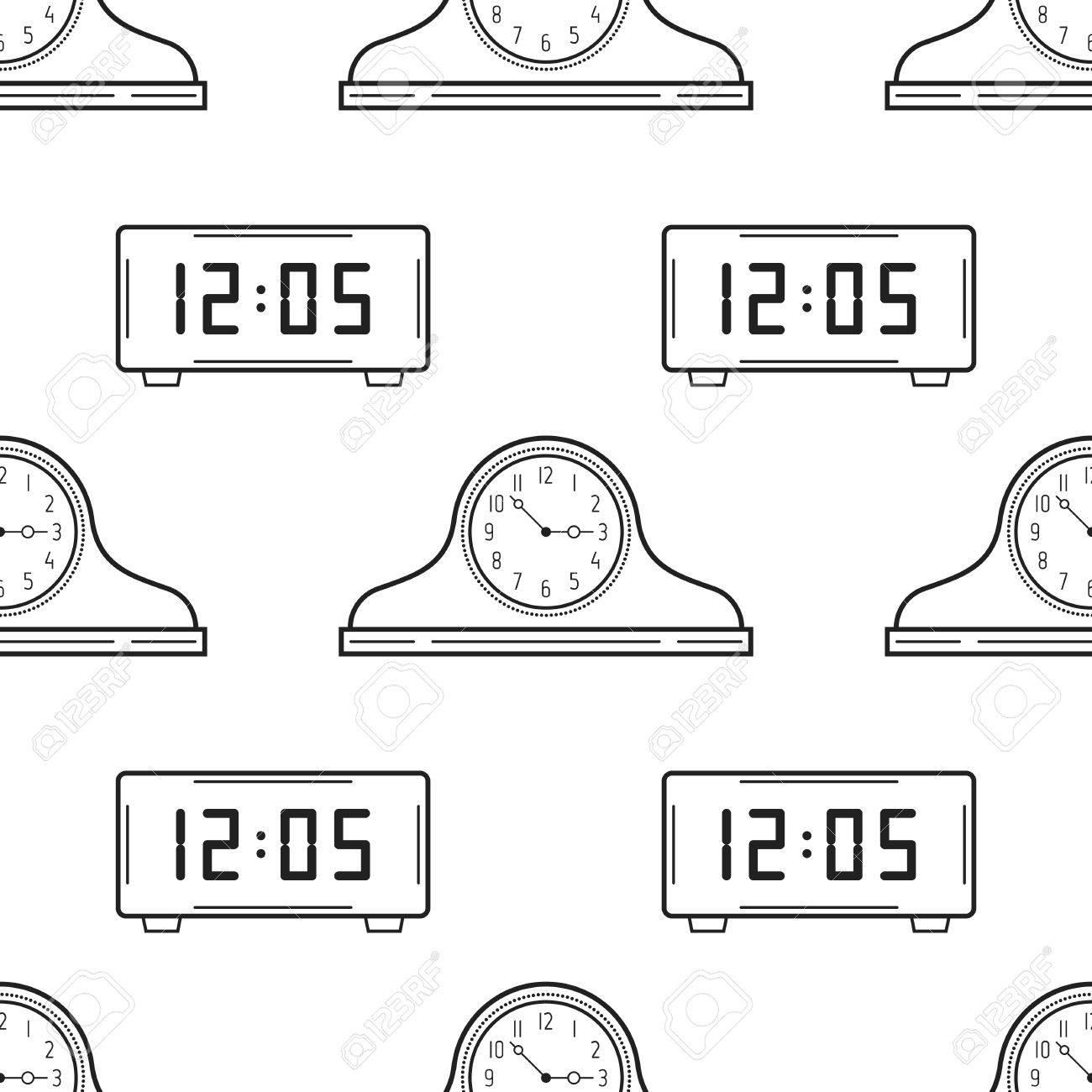 Reloj Electrónico Y Relojes De La Chimenea Blanco Y Negro De Patrones Sin Fisuras Para Colorear Libros Páginas Ilustración Vectorial