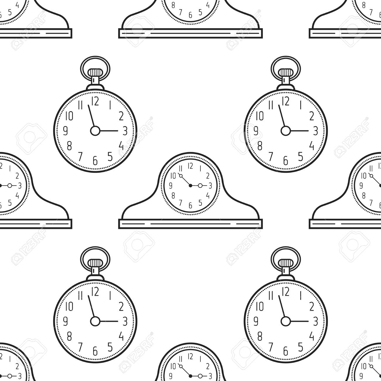 clocks watchBlack white and Mantel and seamless pattern pocket srdCthQ