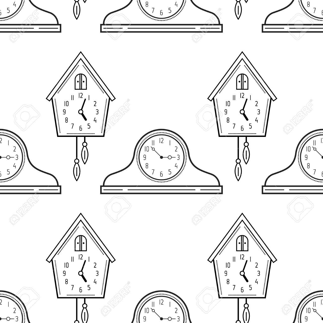 German Cuckoo Clock ぬりえ | Free Printable Coloring Pages | 1300x1300