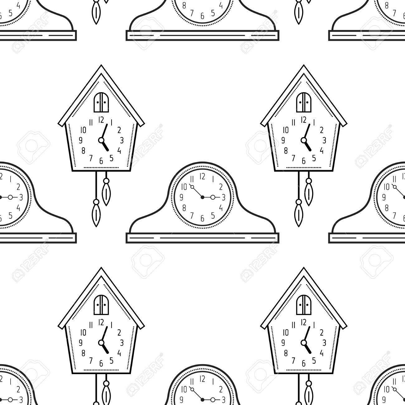 Relojes De Chimenea Y Reloj De Cuco Blanco Y Negro De Patrones Sin Fisuras Para Colorear Libros Páginas Ilustración Vectorial