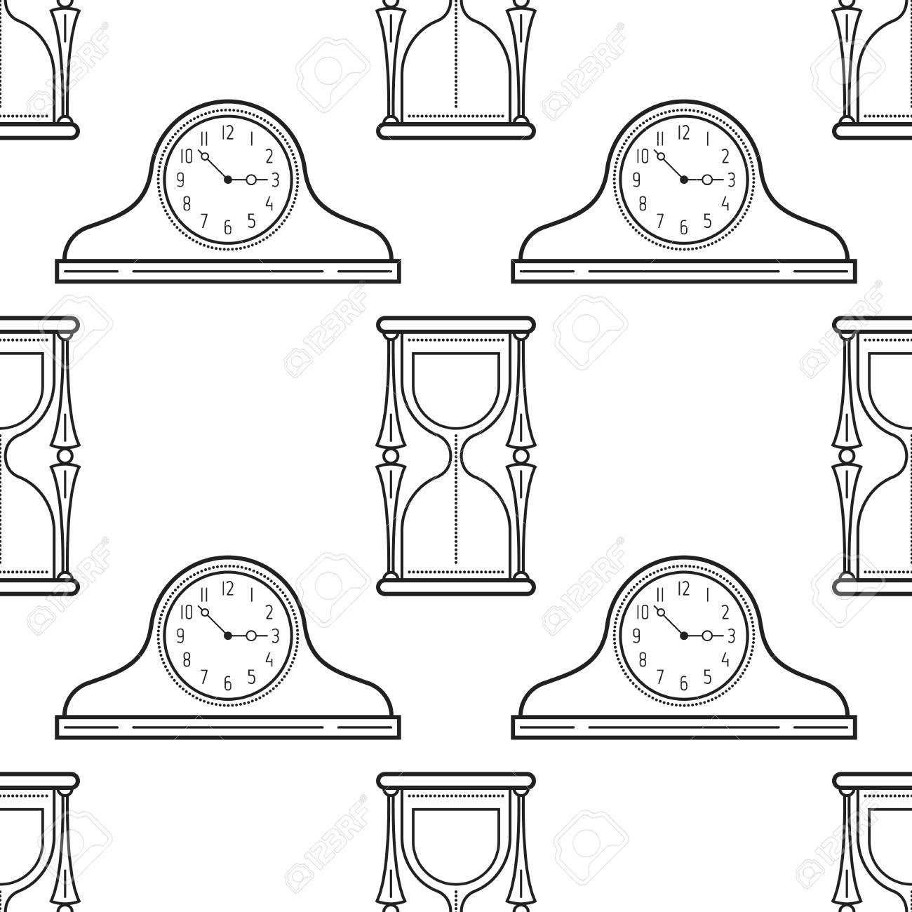 Reloj De Arena Y Relojes De Chimenea En Blanco Y Negro Patrón Repetitivo Para Colorear Libros Páginas