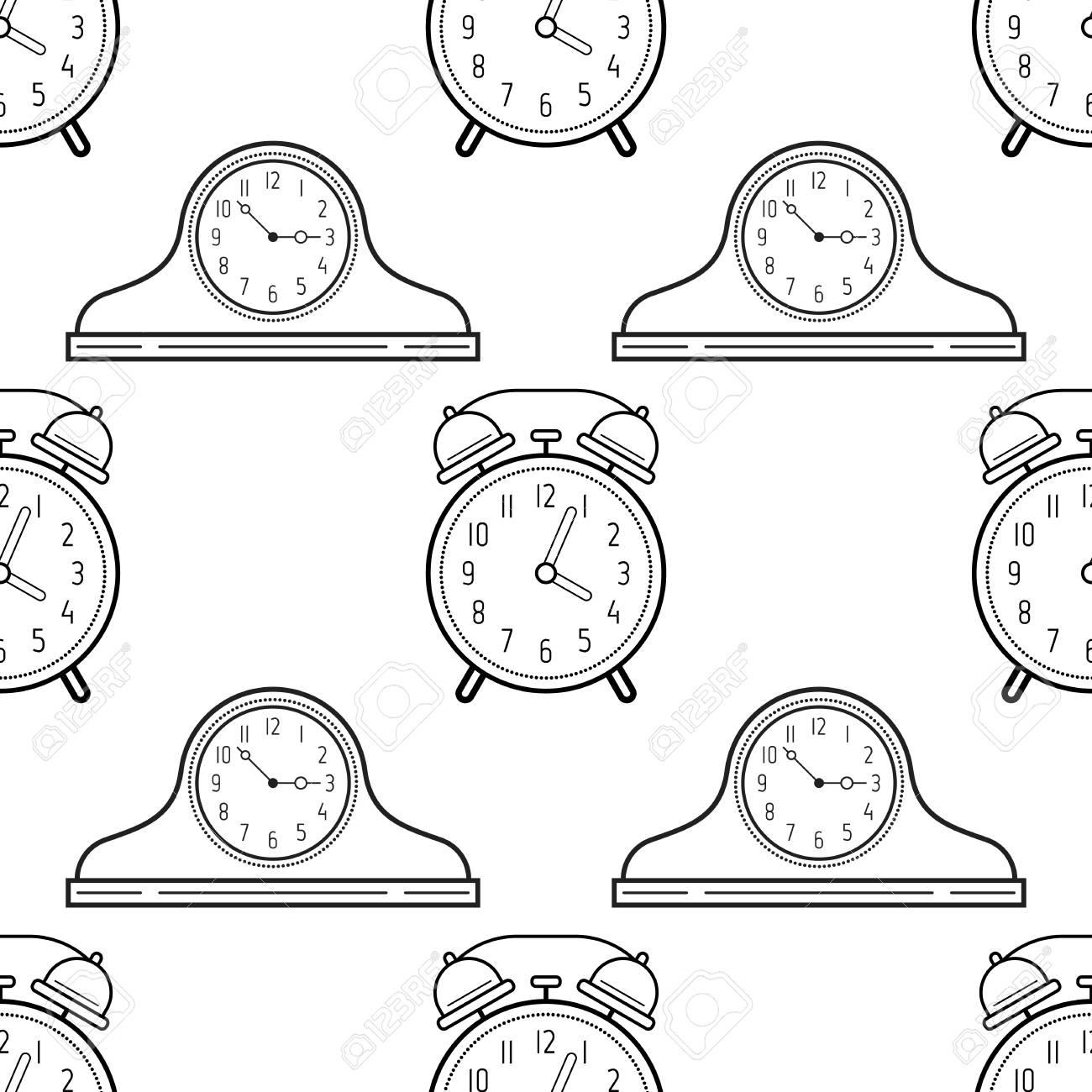 Despertador Y Relojes De Manta Blanco Y Negro Sin Patrón Para Colorear Libros Páginas Ilustración Del Vector