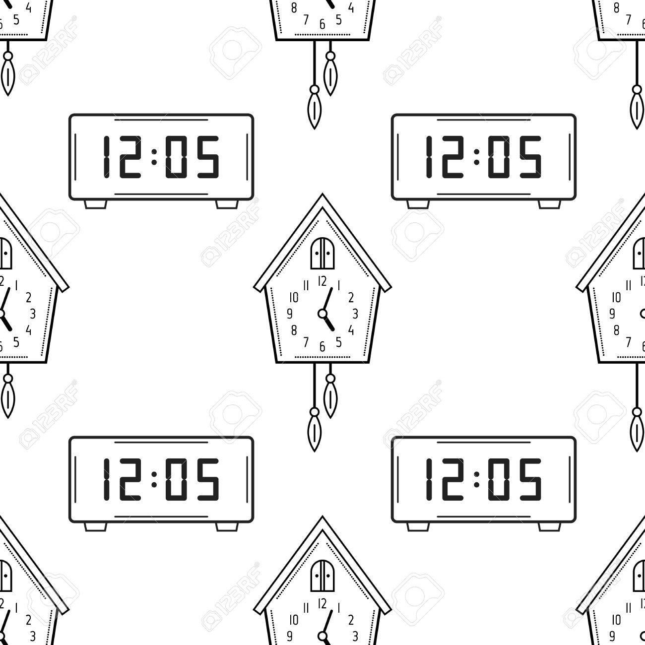 Reloj Electrónico Y Reloj De Cuco Blanco Y Negro Patrón Transparente Para Colorear Libros Páginas