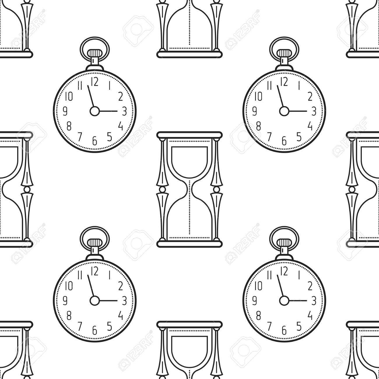 Reloj De Arena Y Reloj De Bolsillo Blanco Y Negro Patrón Transparente Para Colorear Libros Páginas