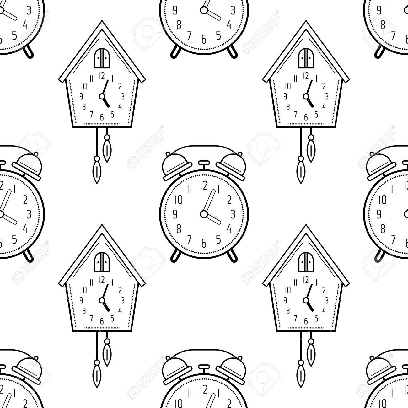 Despertador Y Reloj De Cuco Blanco Y Negro De Patrones Sin Fisuras Para Colorear Libros Páginas