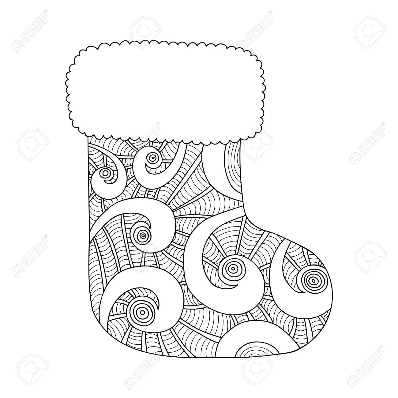Weihnachtsstrumpf Für Geschenke. Schwarz-Weiß-Illustration Zum ...