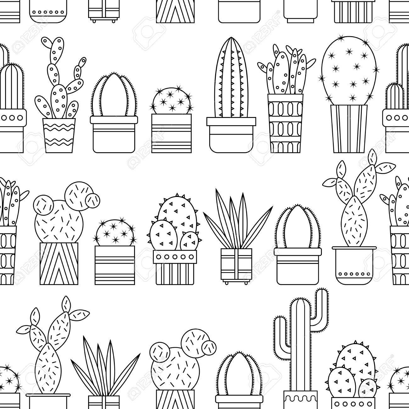 Modelo Inconsútil Blanco Y Negro De Cactus Y Suculentas Para Colorear Libros Páginas