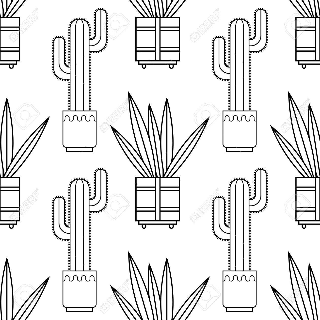 Blanco Y Negro Patrón Transparente De Cactus Y Suculentas Para Colorear Libros Páginas Ilustración Del Vector