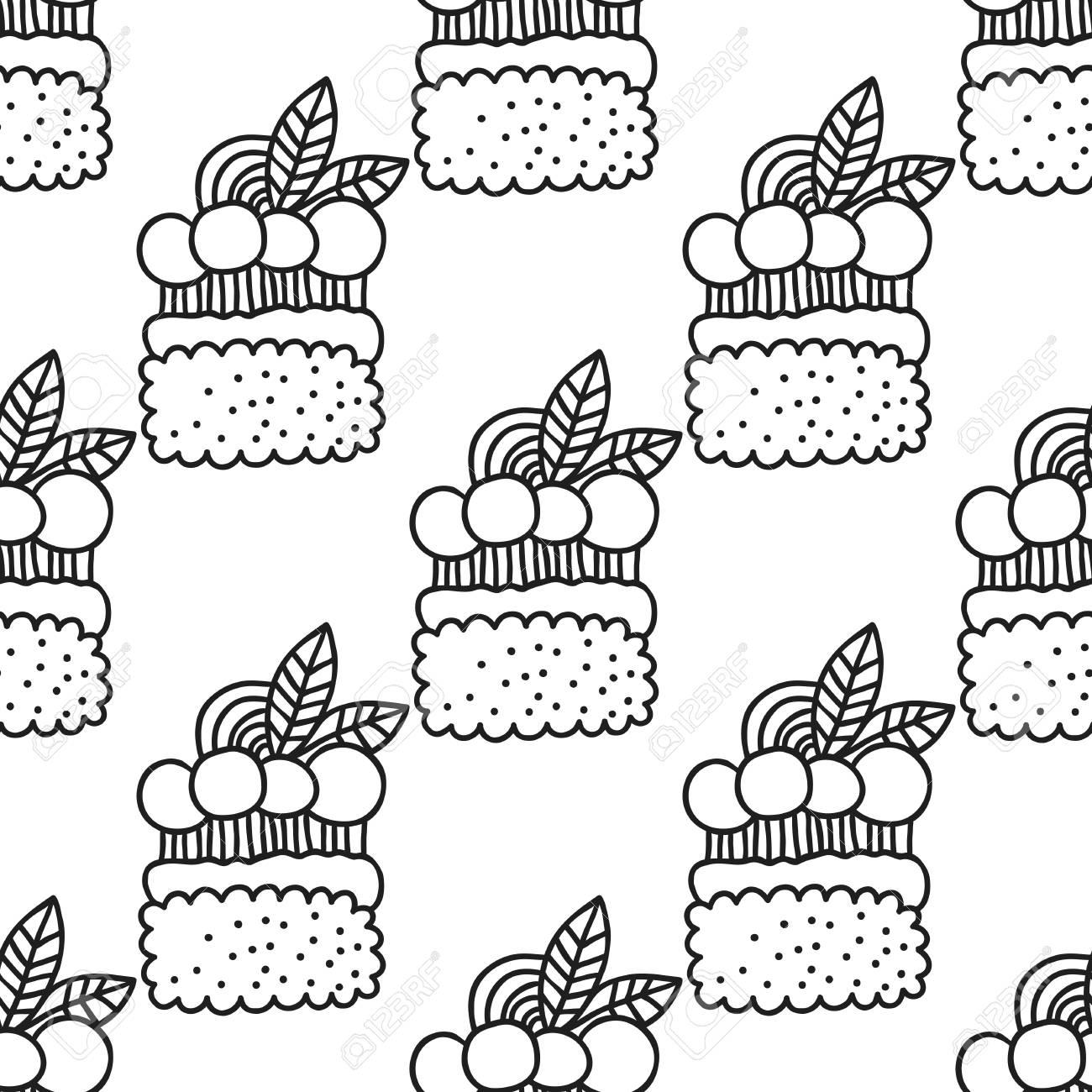 Tortas Y Cupcakes Patrón Transparente Blanco Y Negro Para Colorear Libros O Páginas Ilustración Vectorial