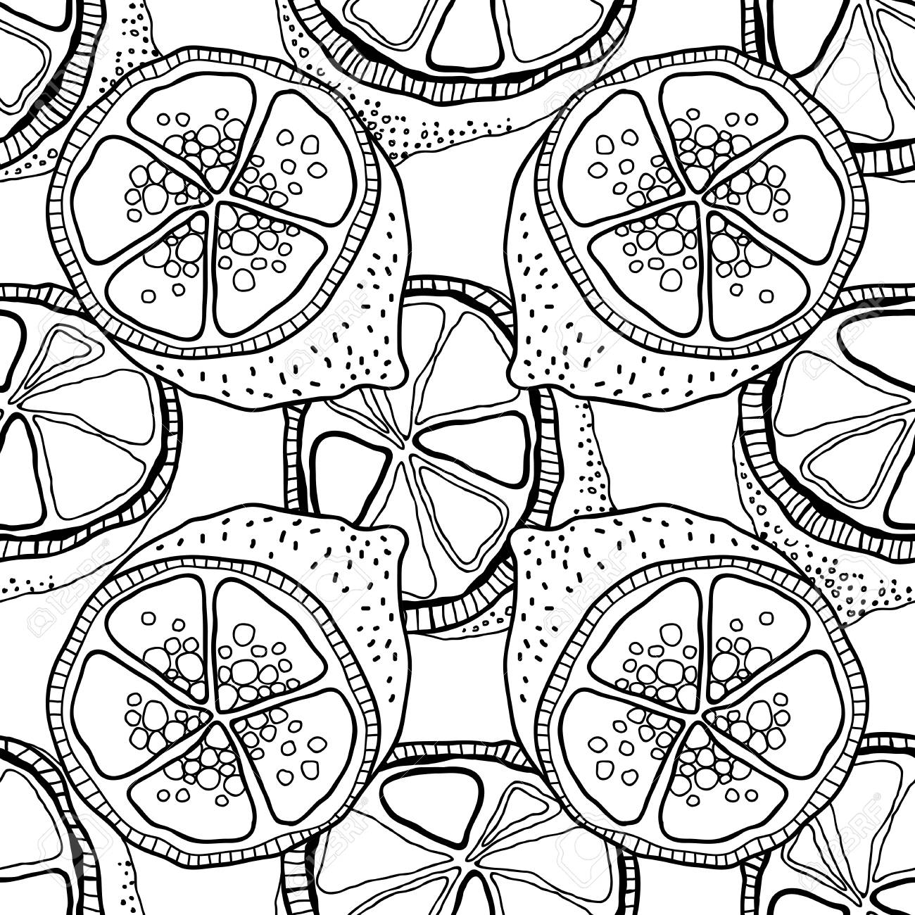 Cahier Coloriage Fruits.Tranches De Citrons Modele Sans Couture Avec Fruits Dessines A La
