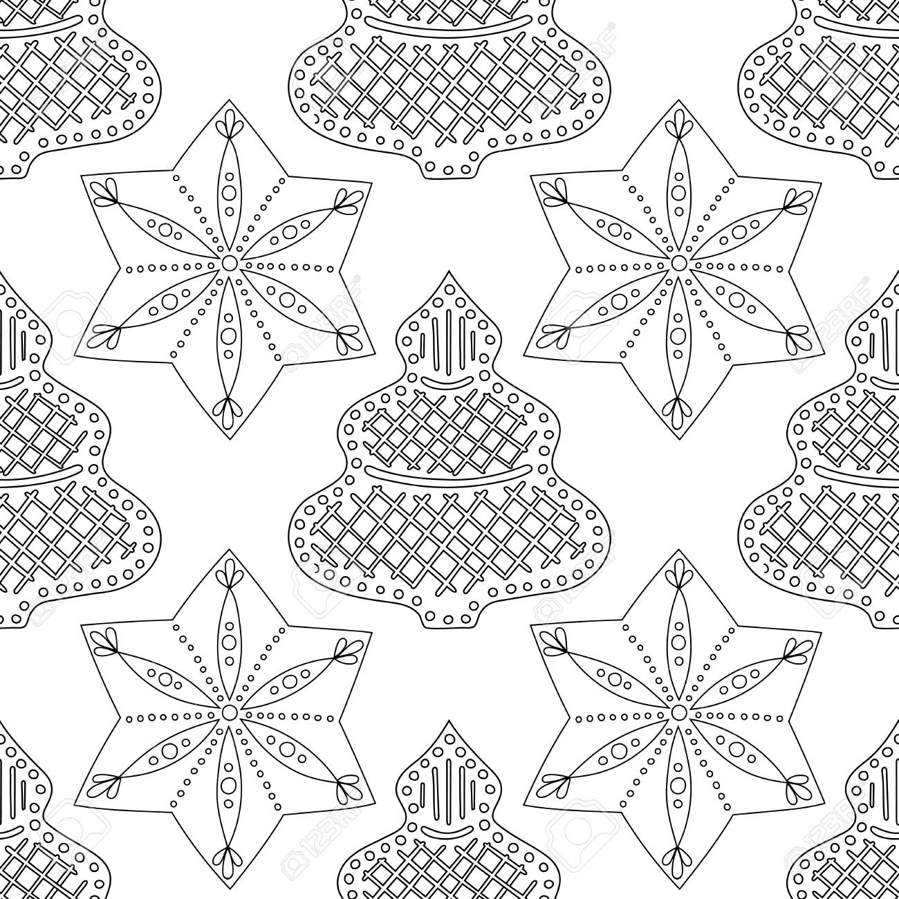 - Gingerbread. Black And White Illustration For Coloring Book Or