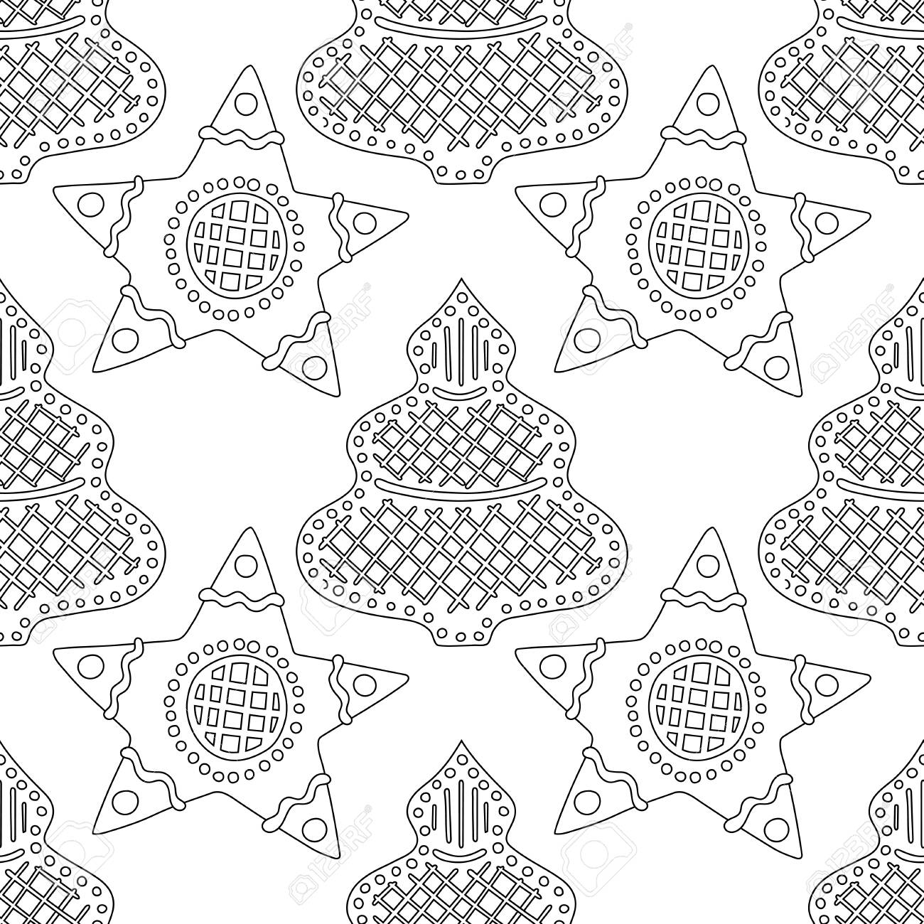 gingerbread black and white illustration for coloring book or page christmas and holiday background