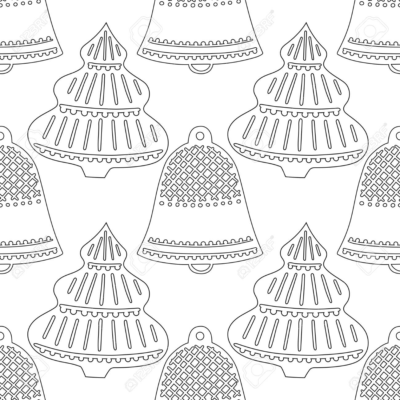 - Gingerbread, Bells. Black And White Illustration For Coloring Book