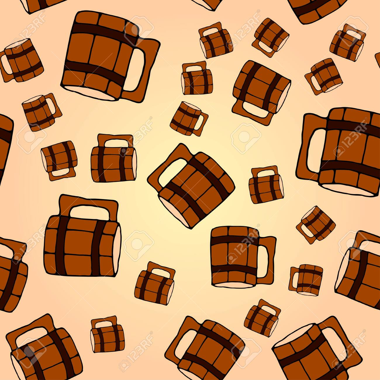 Seamless Pattern With A Wooden Beer Mug Colorful Hand Drawn Royalty Free Cliparts Vectors And Stock Illustration Image 146295013