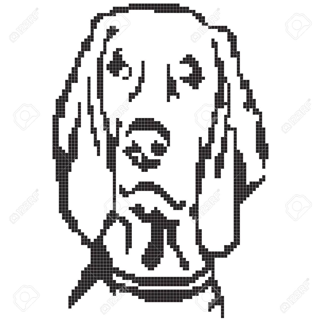 A Labrador Dog Painted With Pixels Vector Illustration