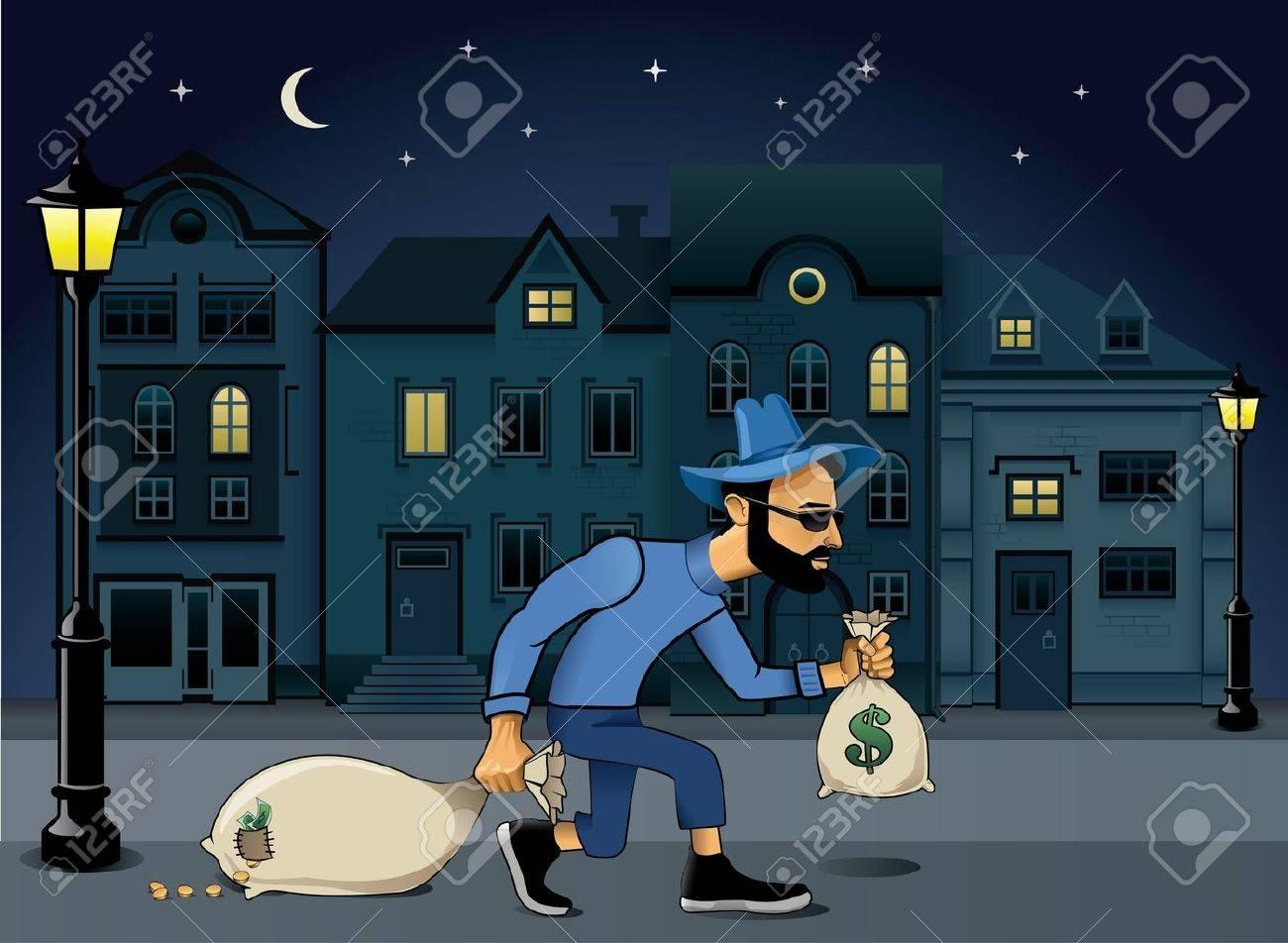 burglar walking jo the street at night Stock Vector - 10344594