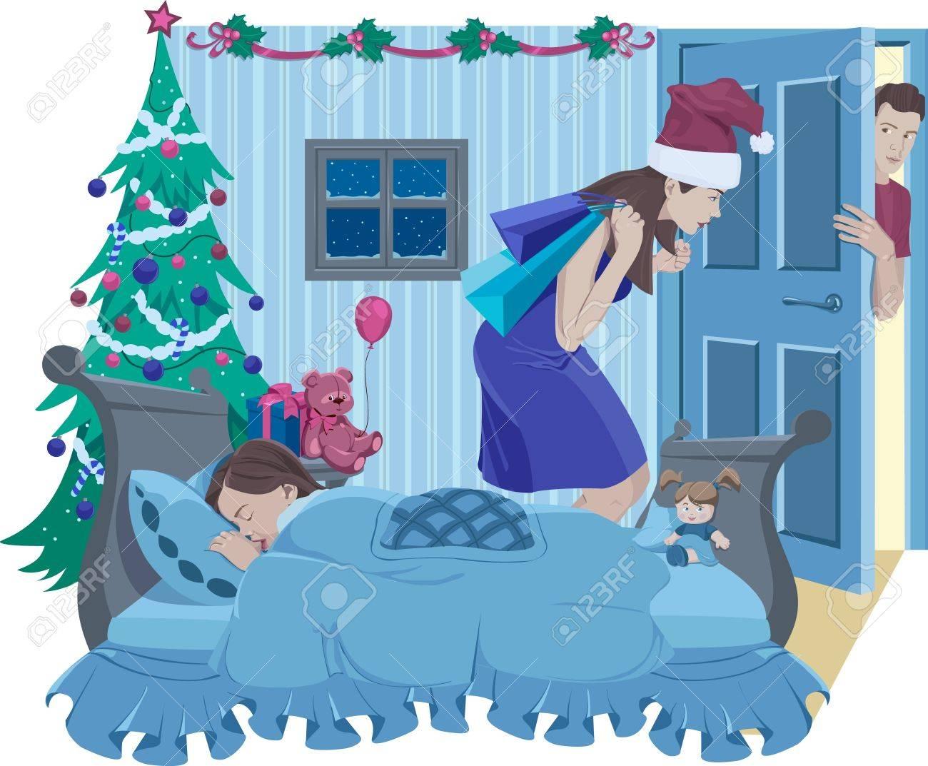 Mama-Santa Legte Weihnachtsgeschenk, Während Ihre Tochter Schläft ...